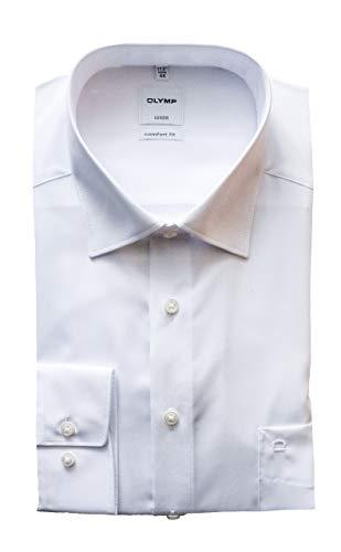 OLYMP Hemd Luxor, Weiß, Comfort Fit, Bügelfrei, Knitterfrei, 100% Baumwolle, Kent Kragen (43)