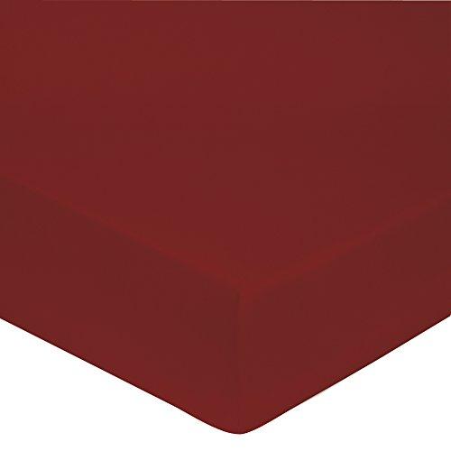 Blanc des Vosges Uni Satin Drap housse Coton Rouge 140 x 190 cm bonnet de 30 cm