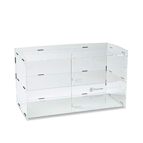 FOXCROSS 3MM Acrylic Display 2 Tier Case for Pastries Cakes Cupcakes Donuts - Crystal Clear - Bakery Essentials - Restaurant Grade - Coffee Shop Display - Counter top Cookie Display