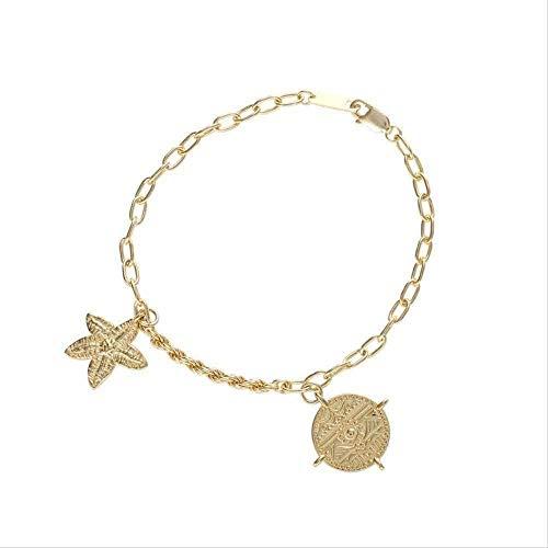 AOAOTOTQ Co.,ltd Collar Personalidad Decoración de la Mano Estilo Temperamento Accesorios Estrella de mar Pulsera Mujer
