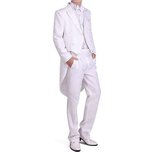 StarDY Herren Smoking Kostüm Classic Slim Fit Smoking Anzug Chorus Musiker Cosplay Erwachsene Magier Tailcoat Magic Show Schwalbenschwanz - Weiß - Medium