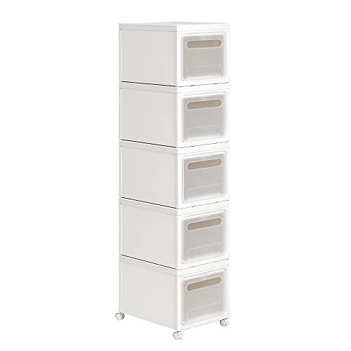 SONGMICS 5er-Set stapelbare Aufbewahrungsboxen mit Deckel, 30 L, Nischenschrank aus PP-Kunststoff, Rollwagen mit 5 Schubladen, 40 x 30 x 25 cm, weiß KFR015W01