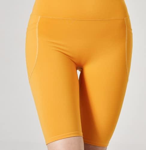 Nupcknn Pantalones Cortos Deportivos para Mujer Pantalones Cortos de Yoga Amarillo