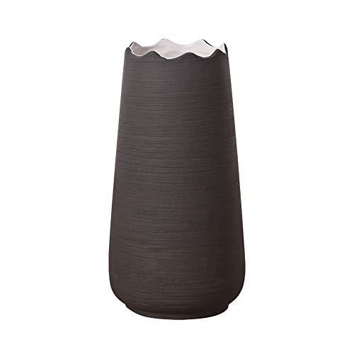 Hetoco 20cm Gris Decorativos Modernos Ceramica Jarrones de Flores para Mesa de Comedor Sala de Estar Idea Regalo para Cumpleaños Boda Navidad