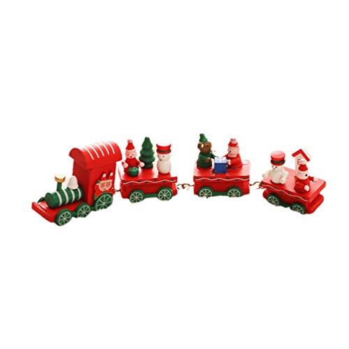 LIOOBO Weihnachtszug Kleiner Zug Fensterdeko Geschenke Neujahr Ornament Spielzeug für Kinder Mädchen Jungen (Rot)
