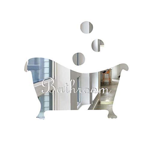 Froiny Forma Bañera Pared Pegatinas, Etiquetas 3D Espejo Pastilla De Tocador De Baño De Baño Adhesivos De Pared Bar Decoración