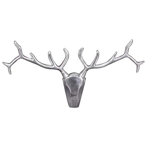FineBuy Deko Hirschgeweih Aluminium Wand-Dekoration Silber Metall modern | Design Hirsch-Kopf Jagd-Trophäe groß | Wanddekoration Geweih | Wohndeko außen