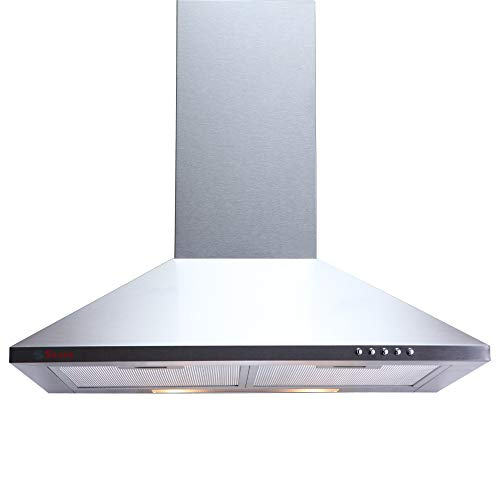 Seavy Kitchen Chimney 60 cm with Cassette Filter, Push Button Panel with LED, Stainless Steel Body, Suction Capacity - 800M3/hr (Mif-SS 60)