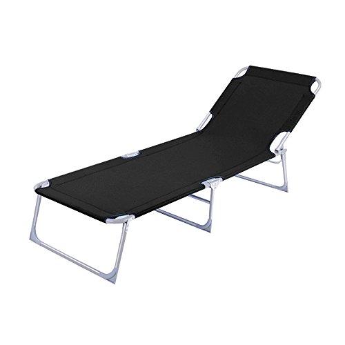 HENGMEI Klappbar Liegestuhl Gartenliege Relaxliege Sonnenliege mit Dach, 188 x 56 x 27 cm (Schwarz, ohne Dach)