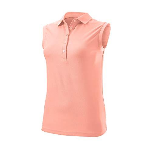 Wilson Femme, Polo de Sport Sans Manches, SLEEVELESS POLO, Polyester, Rose, Taille LG, WGA700629