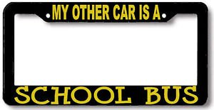 Personalized City My Other Car is a School Bus License Plate Frame