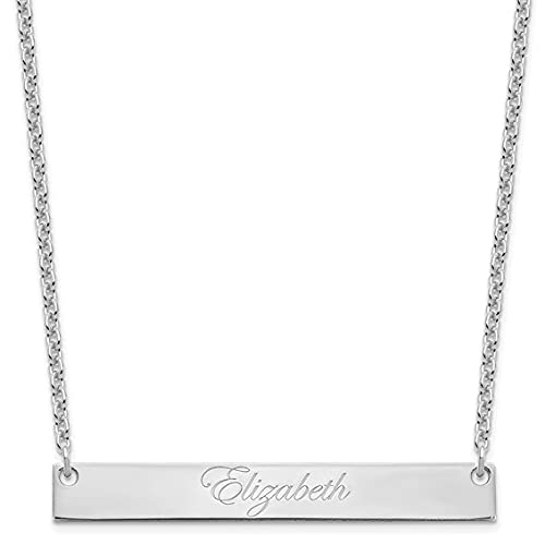 Jewelry-SS/Rhodium-plated Large Polished Edwardian Script Bar Necklace