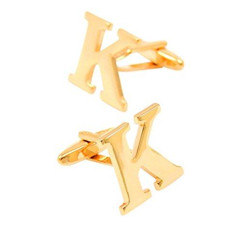 Bishiling Mode Edelstahl Manschettenknöpfe Hochzeit Herren Buchstabe K Hemd Manschetten Knöpfen Gold