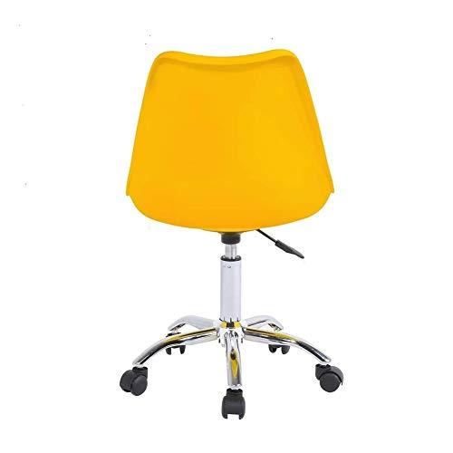 YB Silla De Oficina,Silla Giratoria Silla de Cuero ergonómica PU Simple Silla sin Brazos (Color : Yellow)