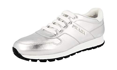 Prada Damen Silber Leder Sneaker 3E6412 40 EU