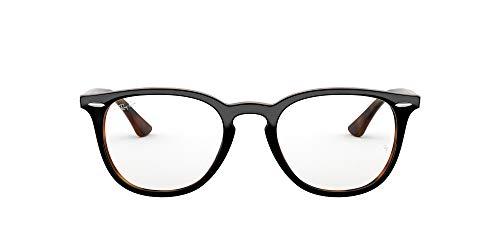 Ray-Ban RX7159 Round Prescription Eyeglass Frames, Top Grey On Havana/Demo Lens, 52 mm