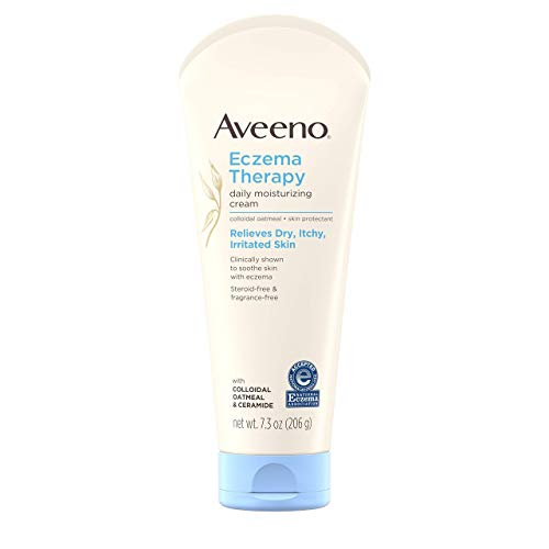 Aveeno Eczema Therapy Daily Moisturizing Cream for Sensitive Skin Soothing Lotion with Colloidal Oatmeal for Dry Itchy and Irritated Skin SteroidFree and FragranceFree 73 oz
