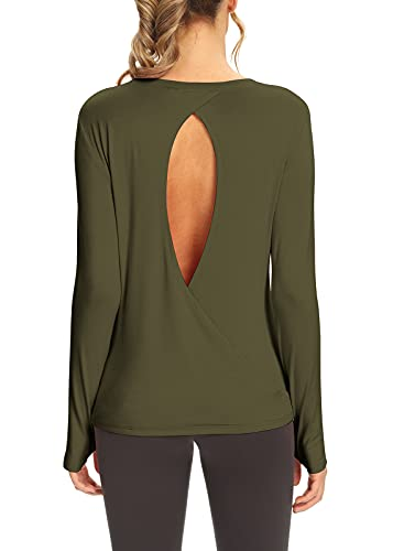 Arkily Long Sleeve Workout Tops for Women Backless Shirt Active Wear Shirts Cross Back Gym Shirts Flowy Backless Tops for Women Sexy Exercise Clothes Athletic Clothes for Women Army Green L