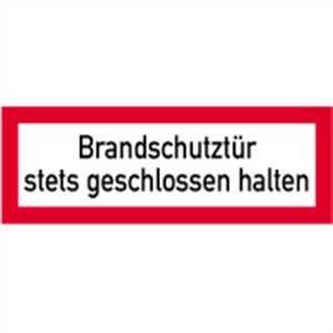 Aufkleber Brandschutztür stets geschlossen halten gemäß DIN 4066 Folie selbstklebend 7,4x21 cm (Feuerschutztür, Brandschutzschild) praxisbewährt