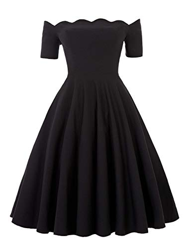 PAUL JONES Women's 50s Retro Black Off Shoulder Dress Short Sleeve Knee-Length Swing Dress for Party