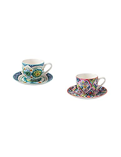 Brandani 52122 - Juego de 2 tazas de café Samba New Bone China de 6 cm de diámetro, plato de 11,5 cm de diámetro, apto para lavavajillas y horno
