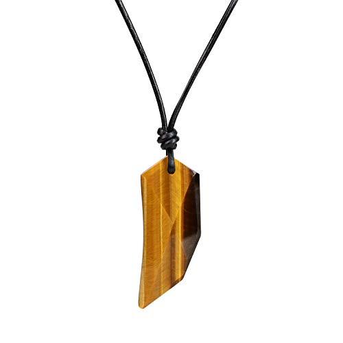 coai Geschenkideen Unisex Spitzer Anhänger aus Gelbem Tigerauge Wolfszahn Amulett Leder Halskette