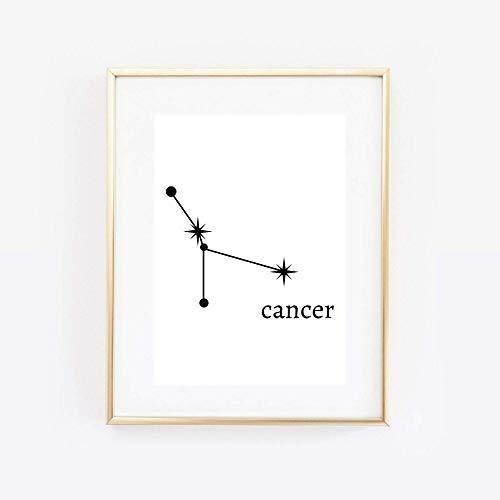 Din A4 Kunstdruck ungerahmt Sternzeichen Krebs Horoskop Cancer Astrologie Sterne Sternhimmel Sternbild Minimalismus Druck Poster Bild
