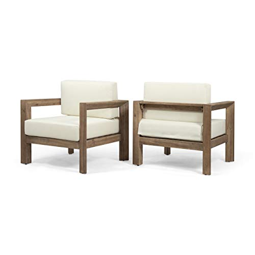 Lucia Outdoor Wooden Club Chairs with Cushions (Set of 2), Beige and Brown Finish