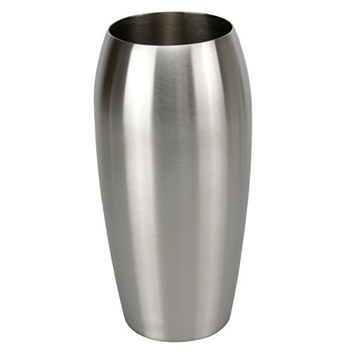 bella casa Blumenvase Vaso Ovale oval 11,5 x 25 cm Gross Silber Edelstahl konisch Bodenvase Dekovase Bogenvase deko Blumentopf Vase Gefäss