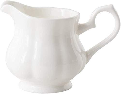 LRX Jarra de Leche Jarra de sirviendo Crema de cerámica Blanca con Mango, cafetera lechera de Leche de Leche Barco de Salsa para Cocina 230ml