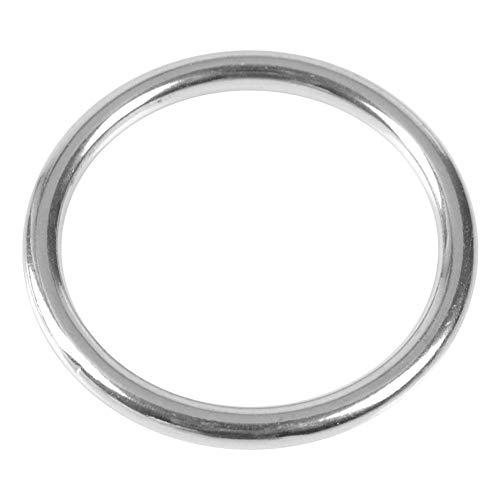 Tbest Geschweißter Ring Edelstahl O Ring 304 Edelstahl Boot Marine Geschweißter Ring O Rundring Polierter Kreis für Yoga-Ringe, Haustiere, Tauchen, Klettern, Bergsteigen(06080)
