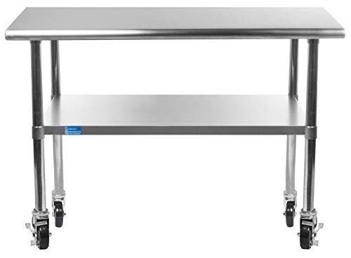 """AmGood Stainless Steel Work Table - with Undershelf & Casters (Wheels) 