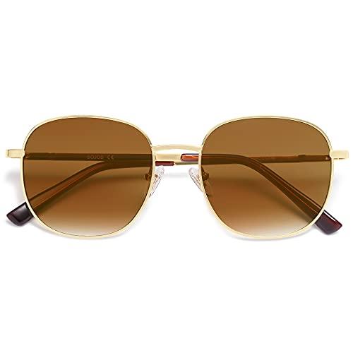 SOJOS Gafas de sol clásicas para mujer con lentes de espejo plano bisagra de resorte AURORA SJ1137