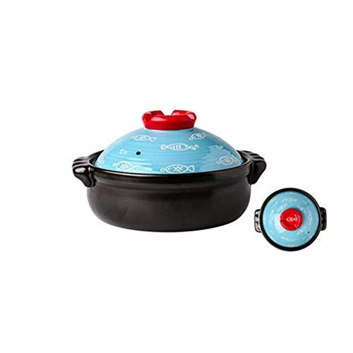 ZHHZ Cazuela de cerámica para el hogar, Cocina de Gas, Estufa de Gas, Olla de Piedra Especial con Tapa de cerámica, Adecuada para cocinar y guisar Olla de cocción Lenta, 1 l