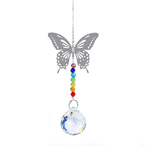 LEV Wind Chimes & Hanging Decorations - Hanging Crystal suncatcher Life Tree Stone Beads Prism Pendant Craft Chain Hanging Window Ornament Home Garden Decoration - by 1 PCs