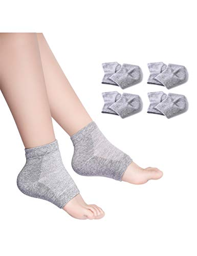 Donfri 4 Paar Gel feuchtigkeitsspendende Socken fr dry feet Feet Skin mit therisches l Behandlung trockenen Haut Trockene Harte Rissige Haut Feuchtigkeitsspendende Offene Zehe Comfy Socken(grau)