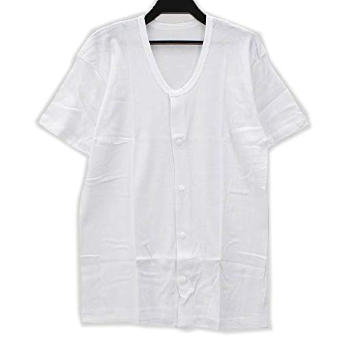 【紳士用】前開き シャツ ≪ 半袖 ホック式 ≫ (1枚) 介護用に!メンズ 男性用 紳士用 肌着 (L, 白)