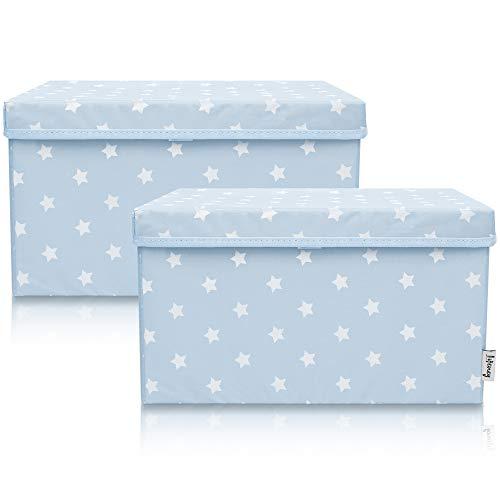 Lifeney 2-Set Aufbewahrungsbox Kinder (37x25x21cm) I Aufbewahrungskorb für Kinderzimmer und Wohnbereich I Kinder Aufbewahrungskiste (Hellblau Stern)