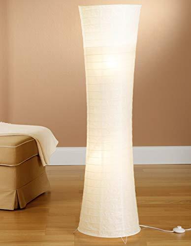 Trango 1229 Modern Design Reispapier Stehlampe *SWISS* Papierlampe in Rund Weiß Stehleuchte, 125cm Hoch mit 2x E14 Fassung und Trittschalter als Wohnzimmer Deco Lampe, Standleuchte, Lampenschirm