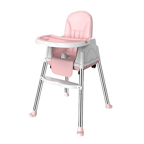 NSWDC Trona para bebé, Silla Alta para el bebé/niño fácil de Montar y Comedor Chica Silla de Ruedas / 4 / Regulable en Altura,Rosado