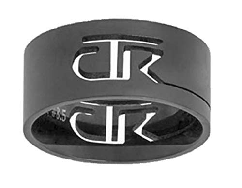 One Moment In Time J69B Sizes 7 Black Cutout Stainless Steel CTR Ring Mormon LDS Unisex
