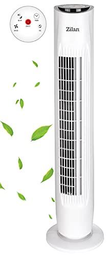 Turmventilator | Oszillierend | 3 Stufen | Fernbedienung | Ventilator | Tower-Ventilator | Standventilator | Säulenventilator | Bodenventilator | Timer | Luftkühler | Weiß | Leiser Betrieb |