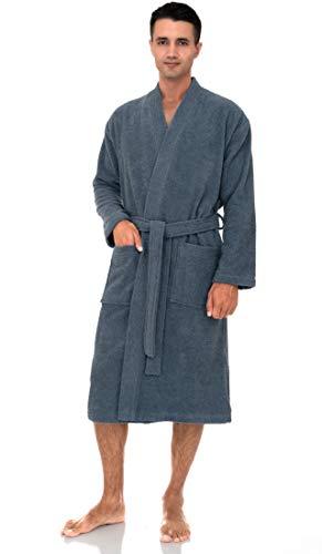 TowelSelections Men's Robe, Turkish Cotton Terry Kimono Bathrobe Large/X-Large Bering Sea