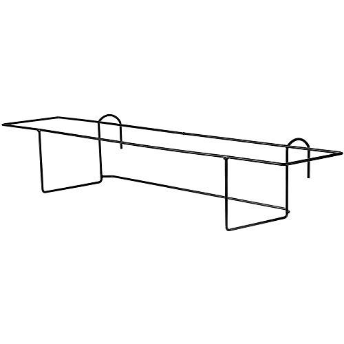 KADAX Blumentopfhalter, hängend, für Geländer, Balkon, Terrasse, Blumenkasten, Innen und Außen, Pflanzenhalterung aus Stahl, Blumenkastenhalter mit Haken, schwarz (L, gerade)