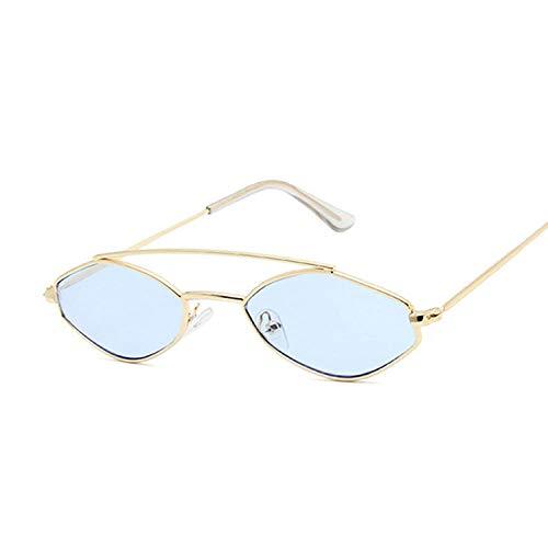 DLSM Gafas de Sol de Marco pequeño Poligonal Macho Gafas de Sol de Metal de Metal de Metal con Ojos Gato Ojo Mullido Degradado de Color Gafas UV400 Apto para Pescar-Dorado