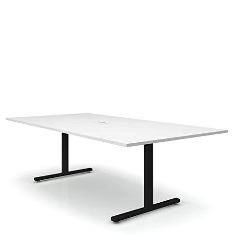 Easy Konferenztisch 240x120 cm Weiß mit ELEKTRIFIZIERUNG Besprechungstisch Tisch, Gestellfarbe:Schwarz