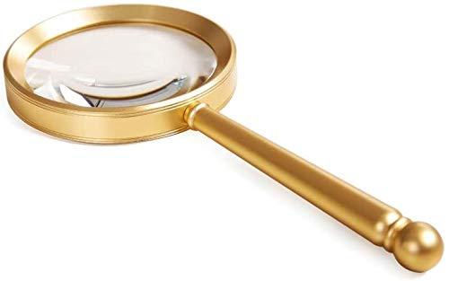 Wxxdlooa 8 Times 10 Times Ronde Handheld Lezen Vergrootglas voor De Oudere Lage Visie Lezen Krant Boeken Magazine Kaart Metalen Frame Optische Wit Glas