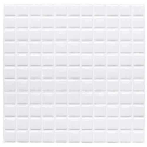 Yoillione 3D Fliesenaufkleber Mosaik Bad Fliesenfolie Küche Selbstklebende 3D Mosaik Fliesen Sticker Weiß, Wasserdicht Fliesensticker Aufkleber Fliesen Folie für Badezimmer Wohnzimmer, 4er Pack