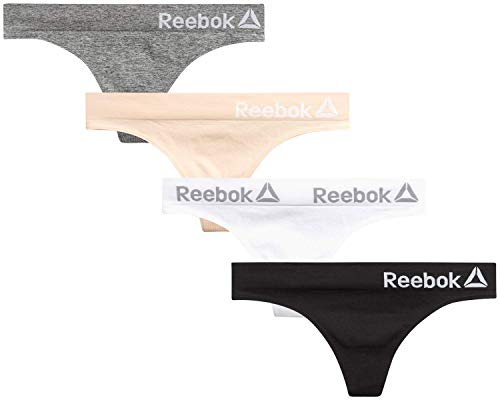 Reebok Women's Seamless Thong Underwear with Tag Free Elastic Waistband (4 Pack), Charcoal/Blush/White/Black, Size Large'