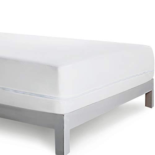 Bedsure Coprimaterasso Matrimoniale antiacaro Impermeabile 160x190/200cm - Proteggi Materasso coprimaterasso con Cerniera a Sacco 30 cm di profondità
